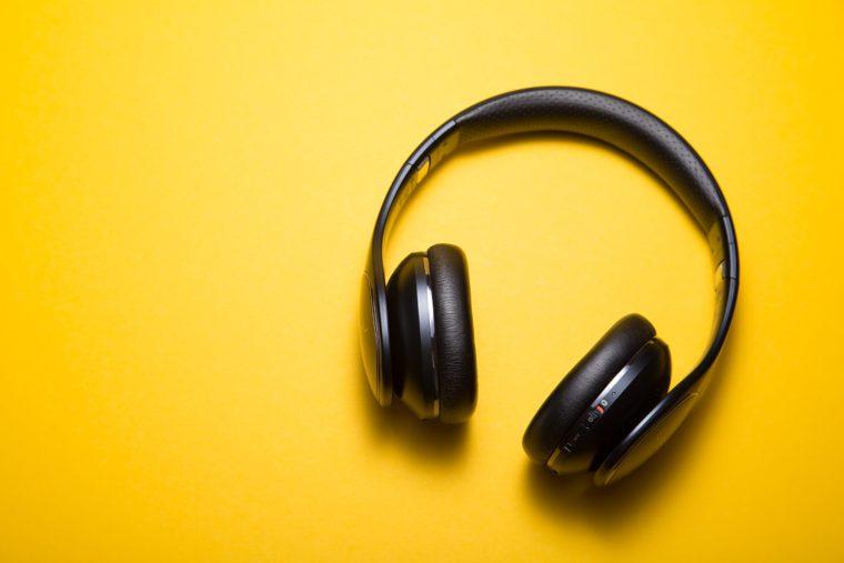 yellow background headphone